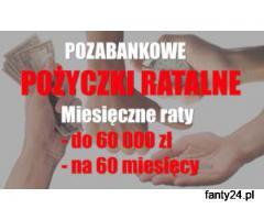 Duże pozabankowe pożyczki na miesięczne raty - 60.000 zł na 60 m-cy przez internet